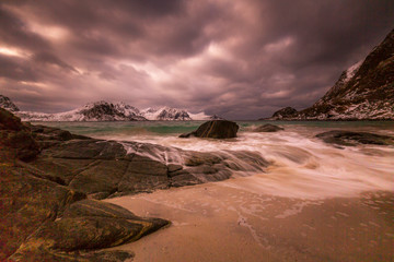 long expousere at the beach, Lofoten, Norway