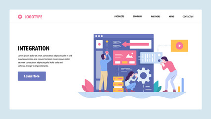 Vector web site gradient design template. Software and website development. Team building new app integration. Landing page concepts for website and mobile development. Modern flat illustration.