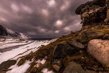 the snowy way to the beach, Lofoten, Norway
