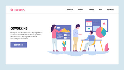Vector web site gradient design template. Coworking space. Business team make presentation. Landing page concepts for website and mobile development. Modern flat illustration.