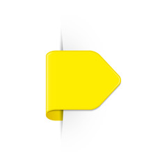 Vector short curved yellow bookmark arrow with shadow and copy space