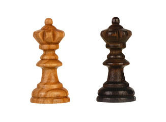 Wooden brown chess pieces