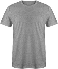 Blank t shirt front view heather grey color isolated on white background, ready for mock up template