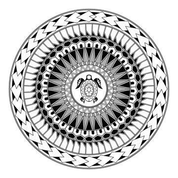 Polynesian circular ornament. Polynesian tattoo. Maori style. Abstract turtle