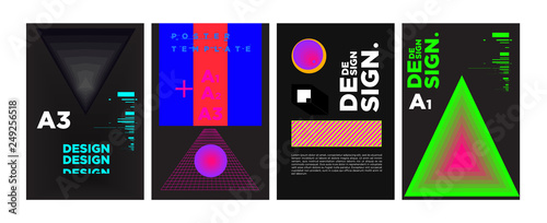Abstract Geometric Collage Poster Design Template In Trendy Vivid