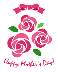 Roses and ribbon icon / Mother's Day