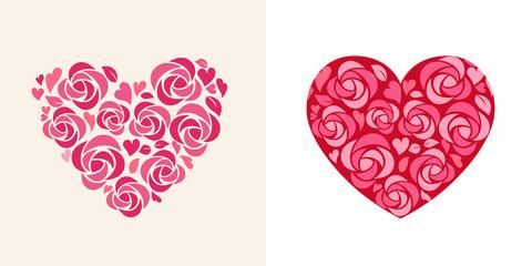 Heart shaped flower decoration icon set