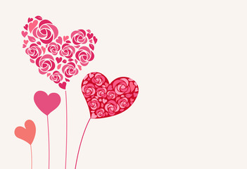 Heart shaped flower decoration / greeting card
