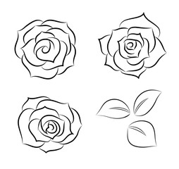 Rose icon set -Line drawing-