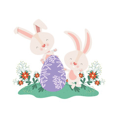 easter rabbits with egg and flowers icon