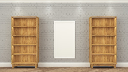 Wooden racks stand at the gray brick wall. between them weighs a frame with a white background. Empty shelves for the installation of your product. 3d render