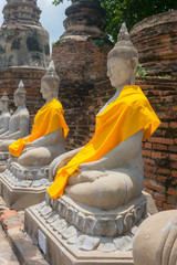 Old Brick Wall Texture and Big buddha in Thailand temple