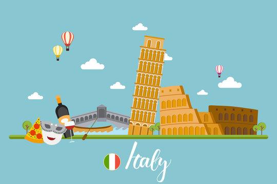 Italy travel landscapes vector illustration