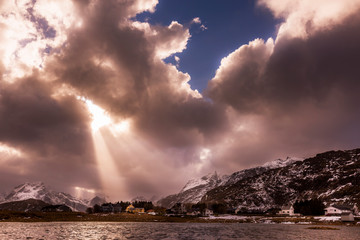 clouds and sun, Lofoten, Norway