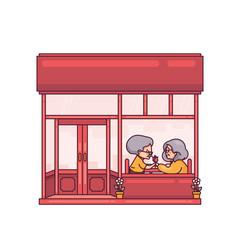Elderly Couple Dinner in Chinese Restaurant