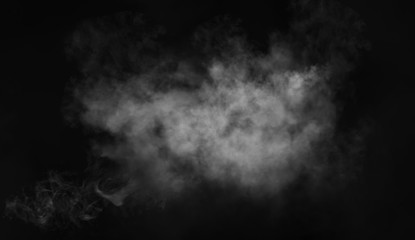 Abstract smoke misty fog on isolated black background. Texture overlays. Design element. Fototapete