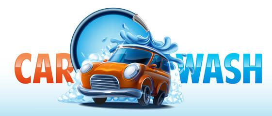 Photo sur Aluminium Cartoon voitures car wash clean