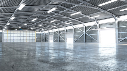 Fototapeta Hangar interior with opened gate. 3d illustration obraz