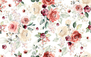 Seamless pattern with flowers and leaves. Hand drawn background.  floral pattern for wallpaper or fabric. Flower rose. Botanic Tile. Wall mural