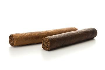 Strong and mild cigars isolated