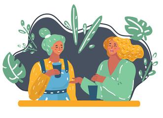 Two women sharing gossip.