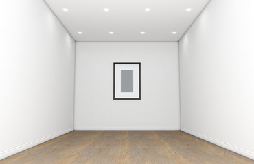 Empty Gallery Room And Picture