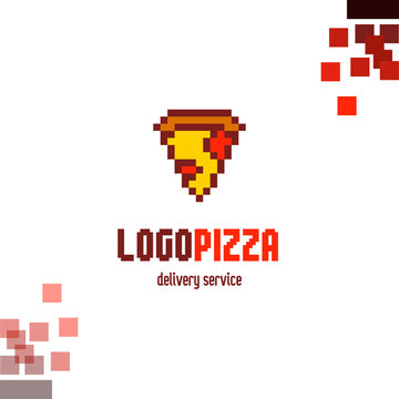 Vector pixel logo pizza, delivery service. Corporate branding identity, logotype icon isolated. EPS 10
