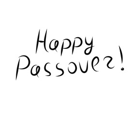 Happy Passover inscription lettering. Doodle, sketch, hand drawing. Vector illustration.