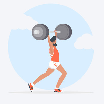 man Lifting Weights over head