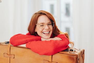 laughing playful woman laughing at camera