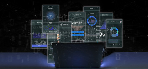 Hacker man holding User interface screens with icon, stats and data 3d rendering