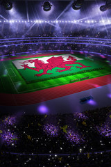 people hold Wales flag in stadium arena. field 3d photorealistic render illustration