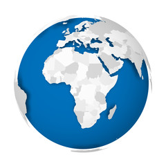 Earth globe. 3D world map with grey political map of countries dropping shadows on blue seas and oceans. Vector illustration