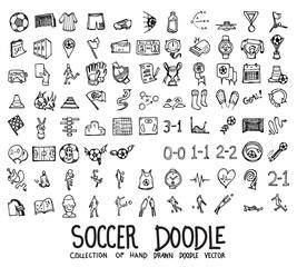 Set of soccer icons Drawing illustration Hand drawn doodle Sketch line vector eps10