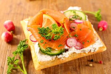 waffle with salmon and vegetable