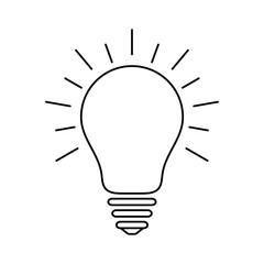 Light bulb icon with rays, idea and creativity symbol, modern thin line art
