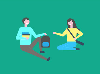 Man student with books and backpack and woman in yellow sweater and blue trousers, bag over shoulders vector cartoon people sitting on floor isolated