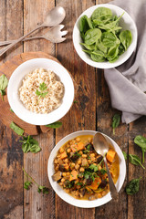 chickpea curry with eggplant, rice and spinach