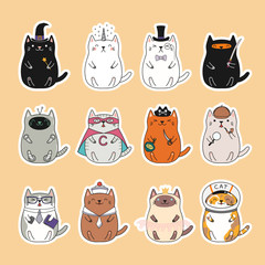 Door stickers Illustrations Set of kawaii stickers with fat cats, unicorn, sailor, pirate, witch, princess, superhero, astronaut, detective, ninja. Isolated objects Hand drawn vector illustration Design concept kids print