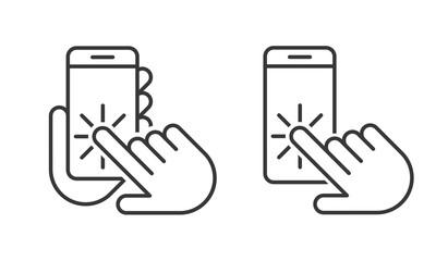 Smartphone Hand icons set