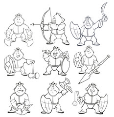 Photo sur Aluminium Chambre bébé Vector Illustration of a Cartoon Character Soldier Mongol for you Design and Computer Game. Coloring Book