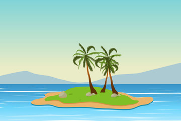 Tropical landscape. Summer background. Palm trees. Silhouette. Vector illustration