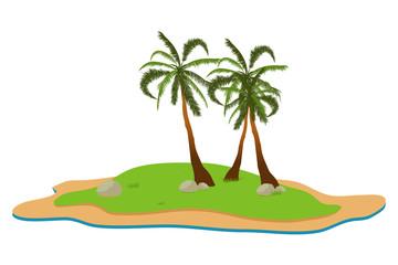 Tropical landscape. Summer background. Palm trees. Vector illustration