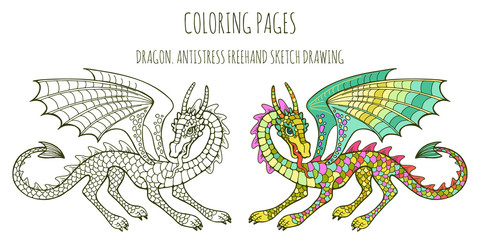 Coloring pages. Coloring book for adults with a fabulous dragon. Anti-stress freehand sketch with doodle elements.