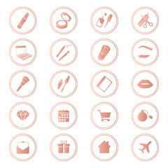 Beauty shop icons, makeup and cosmetics set, rose gold color