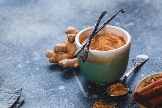 Vanilla chai tea latte mix in cup, ingredients. Macro, selective focus