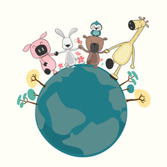 group of happy animals holding and walking on the earth