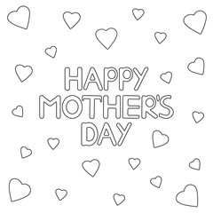 Happy mother's day card with hearts. Coloring page