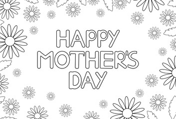 Happy mother's day card with flowers. Coloring page