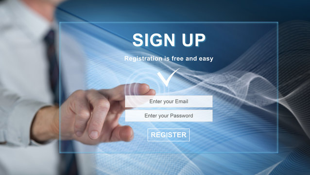 Man touching a signup concept